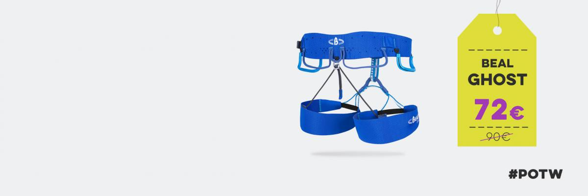 At only 250g the Beal Ghost harness will help you float up mountains.
