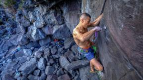 Yuji Hirayama have big fight with the Hiogi 5.13b (trad) 8a in Japan