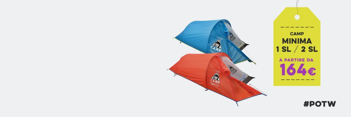 Campeggio semplice con le tende Minima 1 e 2 SL di CAMP. Leggere, pratiche, economiche