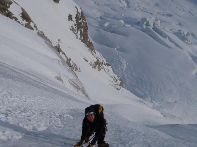 Climbing the Couturier couloir, below Late to Say I'm Sorry